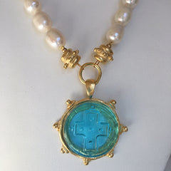 Aqua Venetian Glass Cross Intaglio on Genuine Freshwater Pearl Necklace