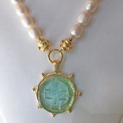 Clear Venetian Glass Cross Intaglio on Genuine Freshwater Pearl Necklace
