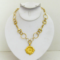 Handcast Gold Equestrian Necklace