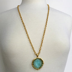 "30"" Aqua Venetian Glass Coin Intaglio on Chain Necklace"
