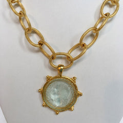 Clear Venetian Glass Coin Intaglio on Chain Necklace