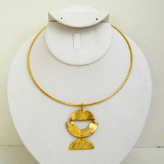 Handcast Gold Geometric Neck Ring