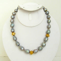 Genuine Grey Freshwater Pearl & Gold Necklace