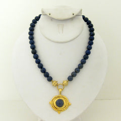 Gold with Lapis Pendant on Genuine Lapis Necklace