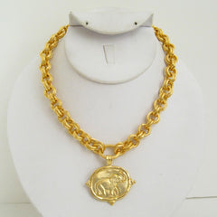 Gold Elephant on Gold Chain Necklace