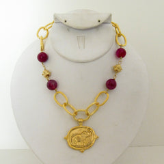 Gold Elephant with Pink Agate Necklace