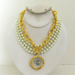 Multi-Strand Pearl with Handcast Gold & Silver Bee Necklace