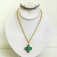 Druzy Cross Drop Necklace