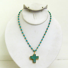 Druzy Cross and Turquoise Necklace