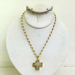 Druzy Cross and Pearl Necklace