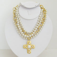 3-Strand Pearl w/Handcast Gold Cross Necklace