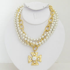 3-Strand Pearl w/Handcast Gold Maltese Cross Necklace
