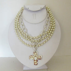 3-Strand Pearl w/Handcast Silver Cross Necklace