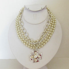 3-Strand Pearl w/Handcast Silver Maltese Cross Necklace