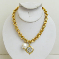 Gold & Silver Initial with Cotton Pearl Necklace