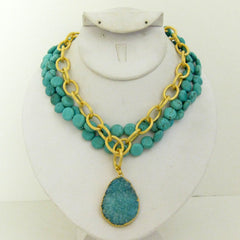Multi-Strand Genuine Turquoise & Aqua Druzy Quartz Necklace