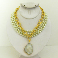 Multi-Strand Glass Pearl & White Druzy Quartz Necklace