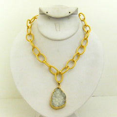 Druzy Quartz Link Necklace