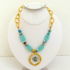 Aqua Quartz & Fire Agate w/ Gold & Silver Bee Necklace