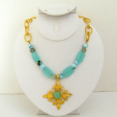 Aqua Quartz & Fire Agate w/ Gold Fleur de Lis Necklace