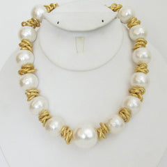 Gold & Cotton Pearl Necklace
