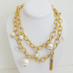"38"" Gold with Cotton Pearl Necklace"