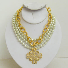 3-Strand Pearl w/Handcast Gold Filigree Medallion Necklace