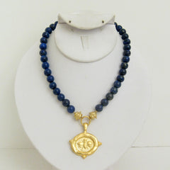 Gold Bee on Genuine Lapis Necklace