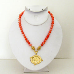 Gold Bee on Pink Coral Necklace