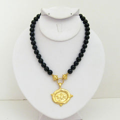 Gold Bee on Black Onyx Necklace