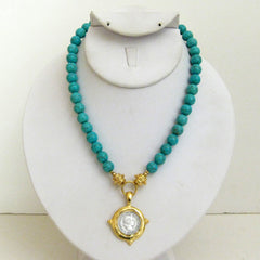 Gold & Silver Coin on Turquoise Necklace