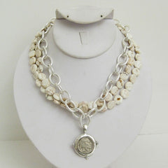 Multi-Strand White Turquoise & Indian Coin Necklace