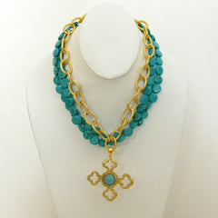 Gold Multi-Strand Turquoise Necklace with Quatrefoil Pendant