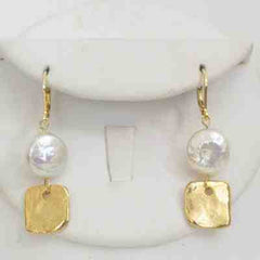 Freshwater Pearl & Gold Square Earring