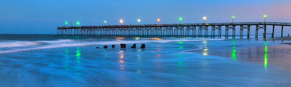 panoramic beach prints, carolina beach pier, fishing pier, carolina photography