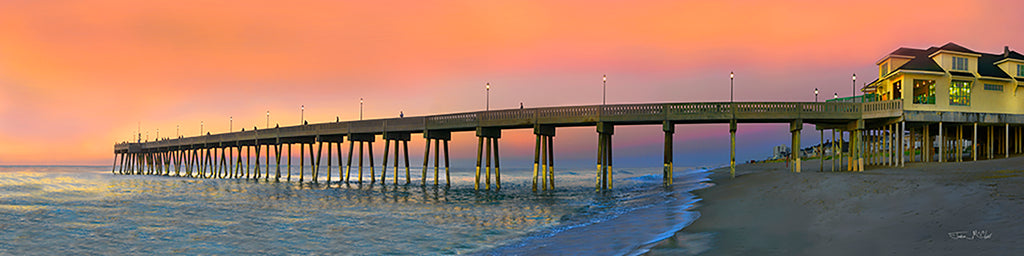Wrightsville beach photos, johnny mercer's pier, orange sunset, sunset panorama, wilmington beach, wilmington nc beaches, sunset images, orange sky at night, sunset prints, sunset on canvas