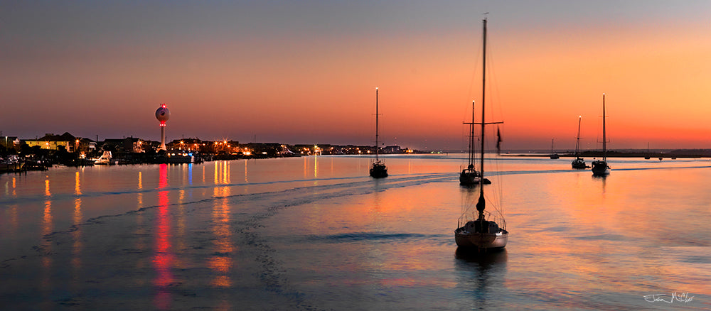 orange sunset, orange sky at night, sunset panorama, sailboat decor, sailboats at sunrise, boat photography, sailboat on water, panoramic beach prints, canvas art,