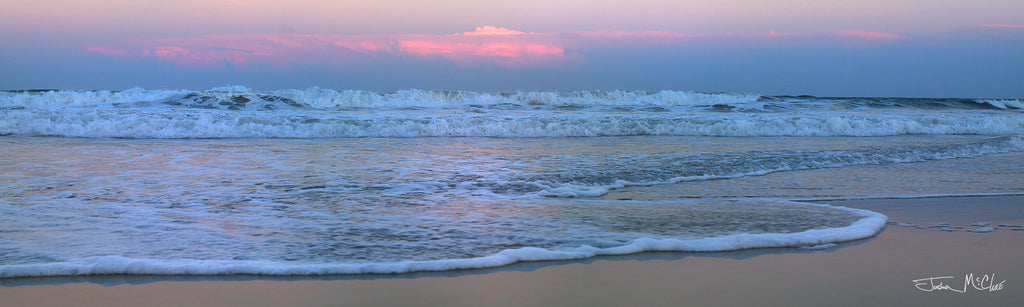 calm ocean, calm waves, pink ocean, blue and pink sunset, purple sunset, pink canvas wall art, pink sunset, panoramic beach canvas art, sunrise panorama, beach prints, carolina beach photos,