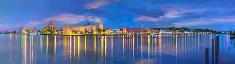 Night Landscape Photography of Historic Downtown Wilmington NC, Panorama, North Carolina beaches, canvas prints, decor