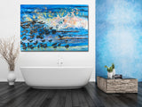 birds wall decor, wave painting, beach hotel design, female impressionists, ocean wave wall art,