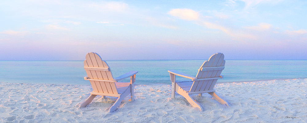 beach chairs on beach, panoramic photography, art prints, soft colors, pastel color art