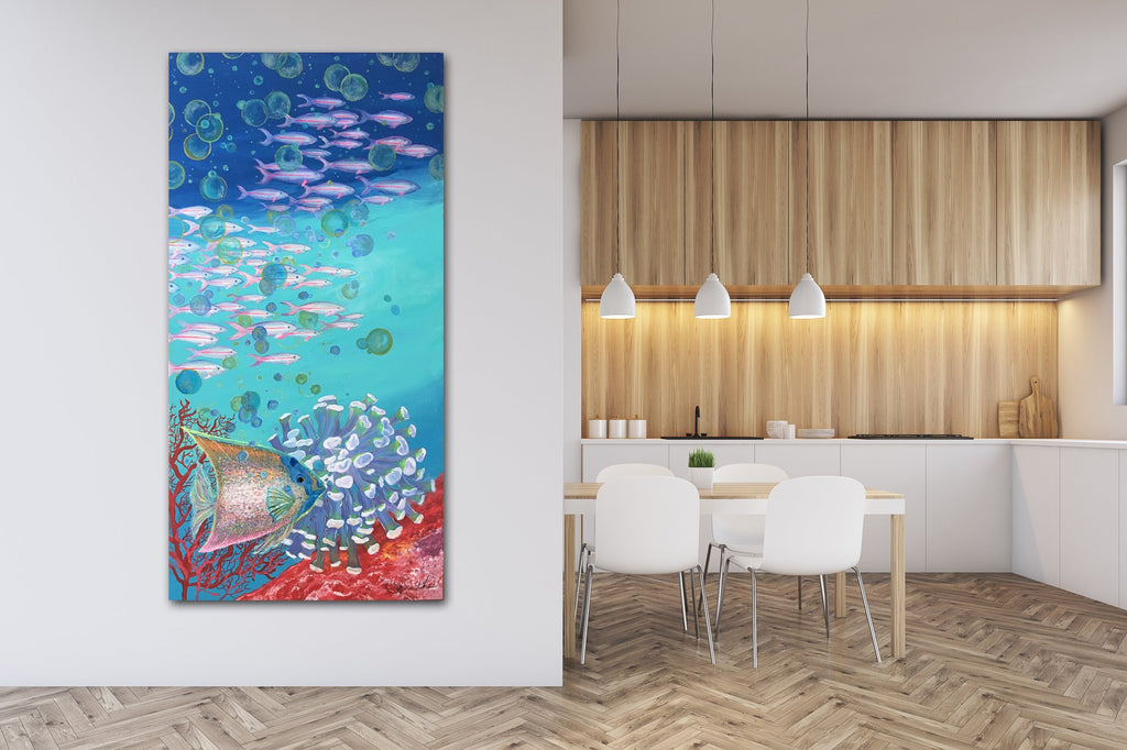 fish decor kitchen, fish wall decor, fish paintings for wall, fish prints for wall, tropical art canvas, tropical art wall decor