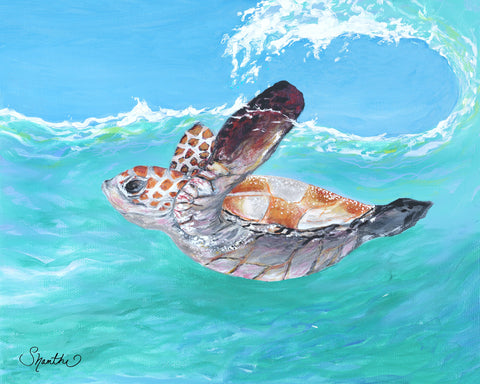 shanthi thiruppathi, painted turtle, sea turtle wall art, sea turtle home decor, baby sea turtles hatching, interior design hotels,