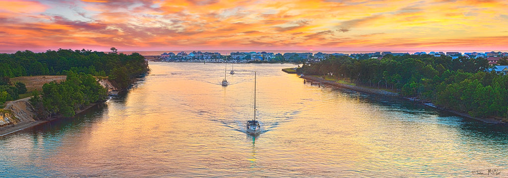 snows cut bridge photos, carolina beach photos, orange sunset, orange sky at night, sailboat sunrise, sailboat on water, boat photography, sunset panorama, beach canvas prints, sailboat on canvas