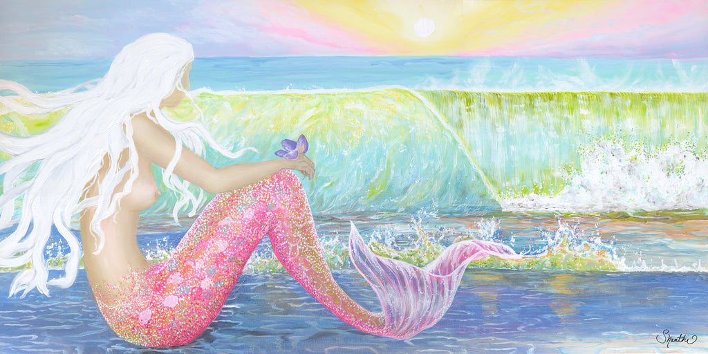 shanthi thiruppathi, sunrise art wall, sunset decor, sunrise painting, mermaid art canvas, mermaid art print, beach decor mermaids, mermaid room decor, mermaid art on canvas, mermaid wall art, mermaid beach decor