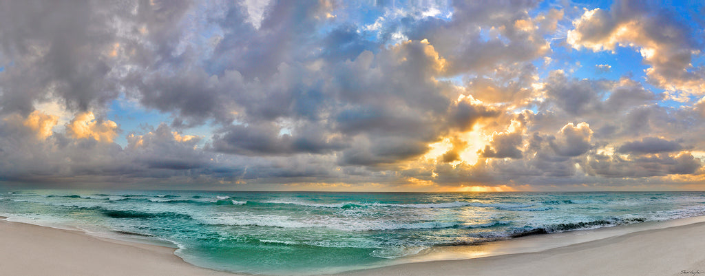 panoramic ocean prints, photography, stunning sky and clouds, wall art