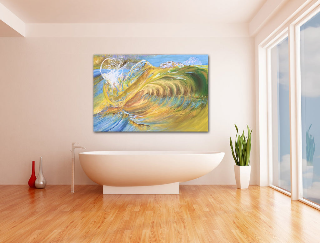 Waves Crashing, bathroom gold decor, beach decor, coastal decor