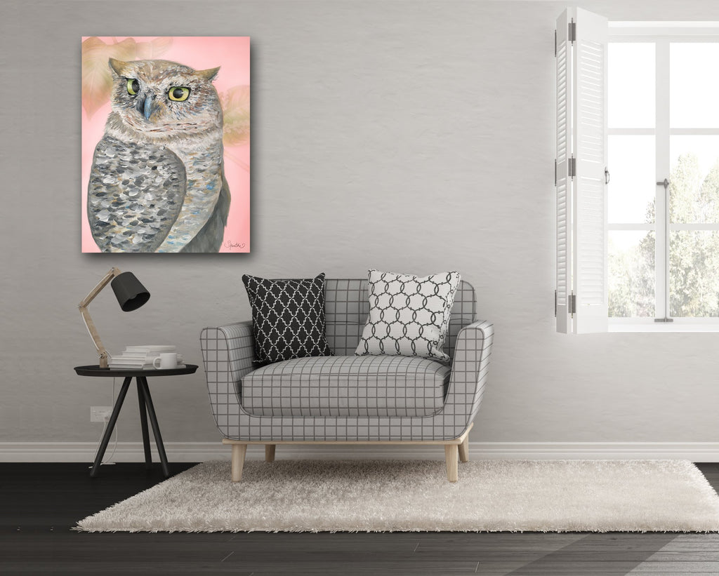 pink owl wall art, owl art on canvas, amazing owl art, owl print, owl themed home decor, owl sketch