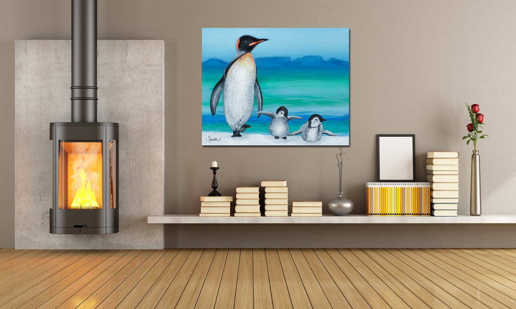 cute penguin art, penguin print, penguin family, penguin painting for kids, penguin xmas gifts,