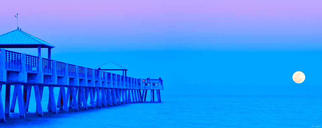 purple sunrise pier moon panoramic, photography